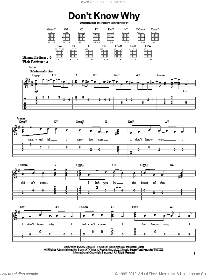 Don't Know Why sheet music for guitar solo (easy tablature) by Jesse Harris