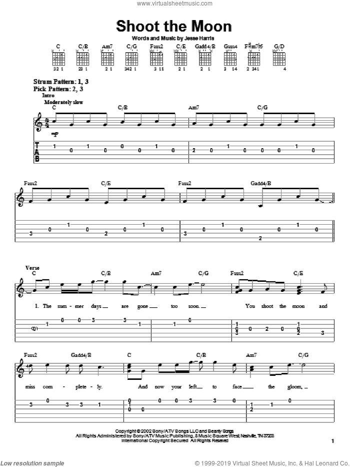 Shoot The Moon sheet music for guitar solo (easy tablature) by Jesse Harris and Norah Jones. Score Image Preview.