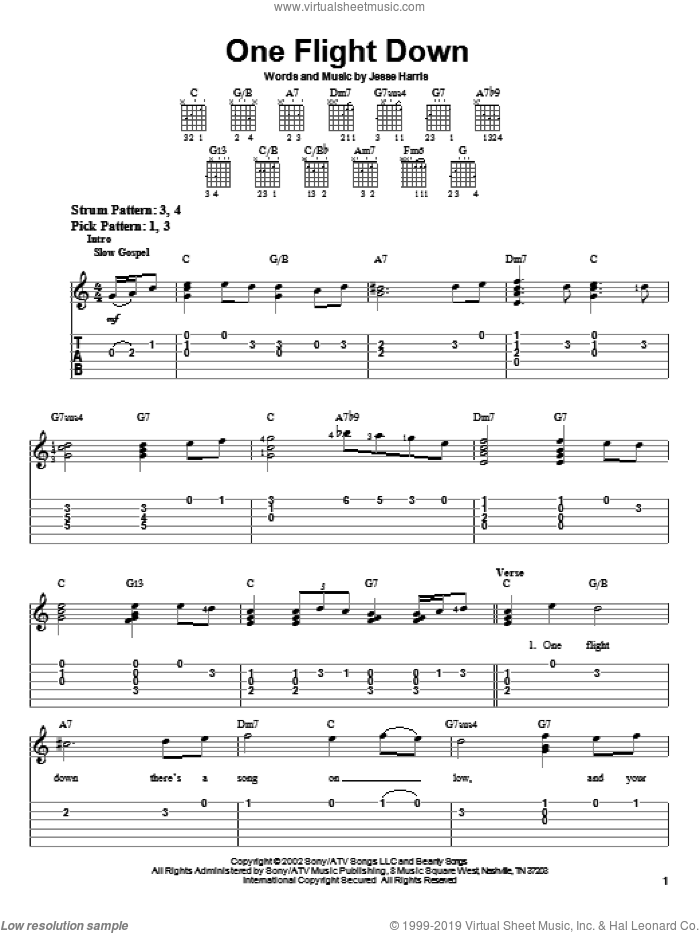 One Flight Down sheet music for guitar solo (easy tablature) by Norah Jones and Jesse Harris, easy guitar (easy tablature)
