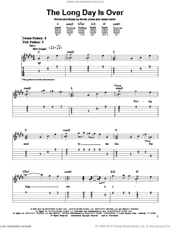 The Long Day Is Over sheet music for guitar solo (easy tablature) by Norah Jones and Jesse Harris, easy guitar (easy tablature)