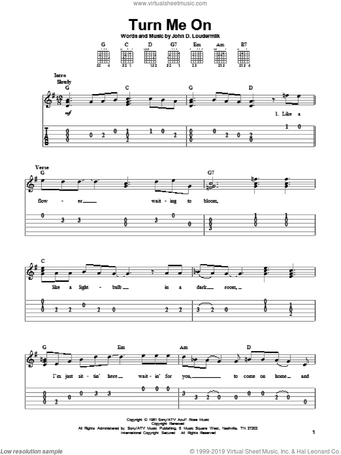 Turn Me On sheet music for guitar solo (easy tablature) by Norah Jones and John D. Loudermilk, easy guitar (easy tablature). Score Image Preview.