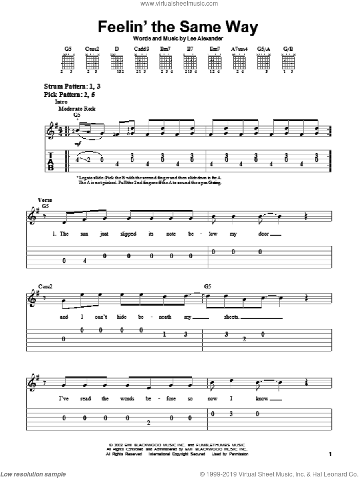 Feelin' The Same Way sheet music for guitar solo (easy tablature) by Lee Alexander