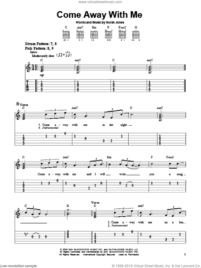 Come Away With Me sheet music for guitar solo (easy tablature) by Norah Jones, easy guitar (easy tablature). Score Image Preview.