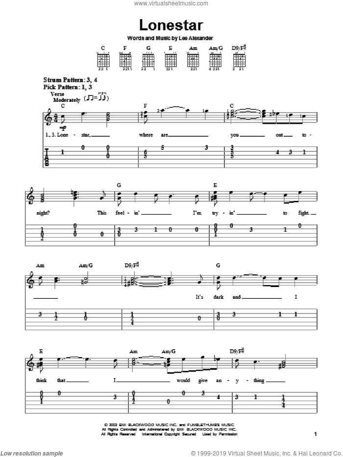 Lonestar sheet music for guitar solo (easy tablature) by Lee Alexander