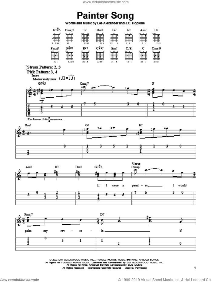 Painter Song sheet music for guitar solo (easy tablature) by Norah Jones, J.C. Hopkins and Lee Alexander, easy guitar (easy tablature)