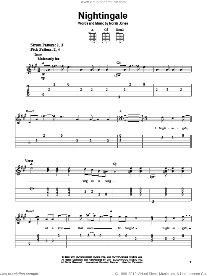 Nightingale sheet music for guitar solo (easy tablature) by Norah Jones, easy guitar (easy tablature)