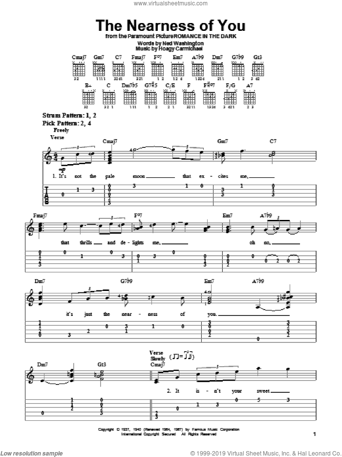 The Nearness Of You sheet music for guitar solo (easy tablature) by Ned Washington, Norah Jones and Hoagy Carmichael. Score Image Preview.