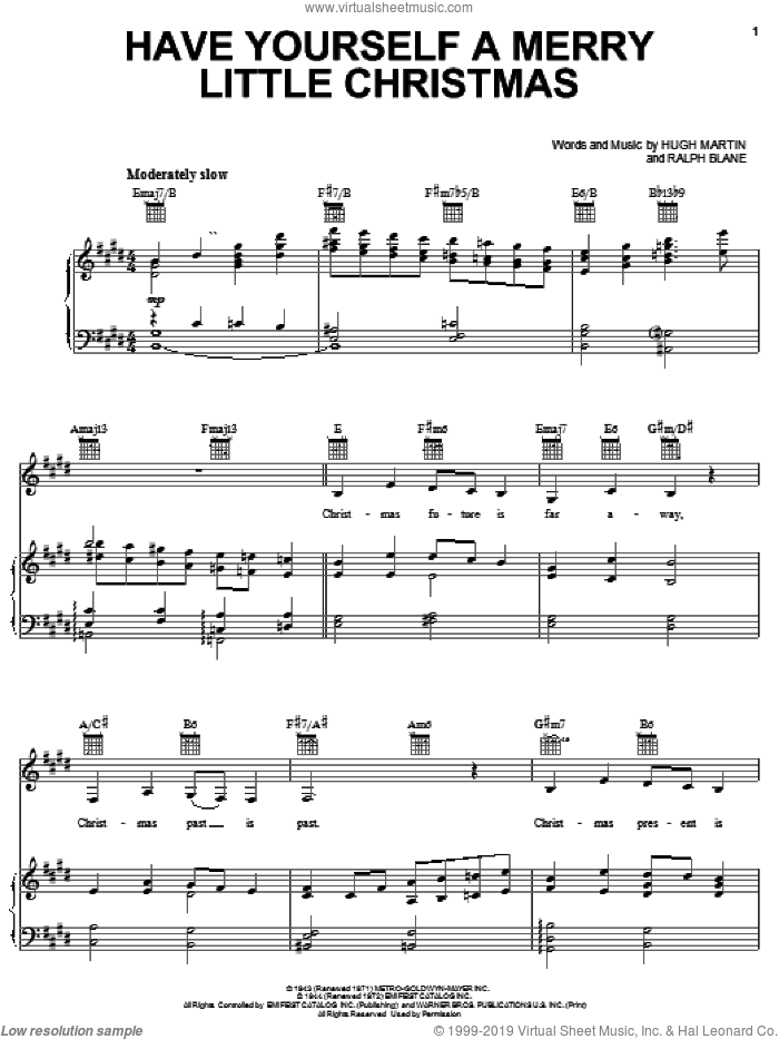 Have Yourself A Merry Little Christmas sheet music for voice, piano or guitar by Carpenters, Hugh Martin and Ralph Blane, Christmas carol score, intermediate voice, piano or guitar. Score Image Preview.