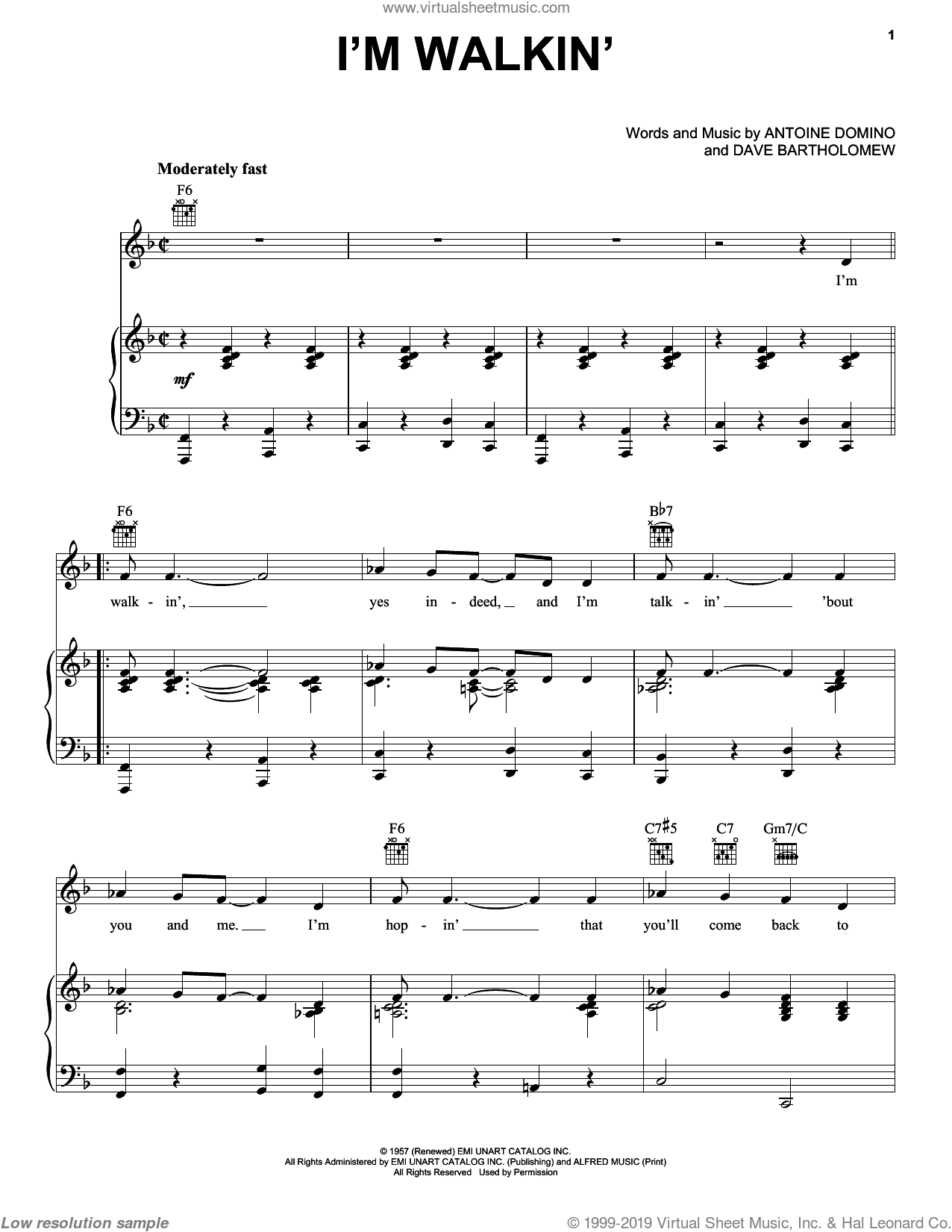 I'm Walkin' sheet music for voice, piano or guitar by Dave Bartholomew, Fats Domino, Ricky Nelson and Antoine Domino. Score Image Preview.