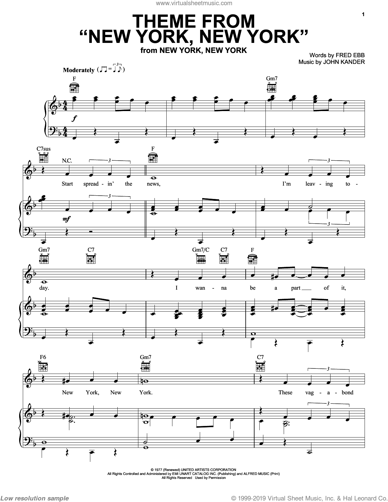 Theme From 'New York, New York' sheet music for voice, piano or guitar by Frank Sinatra, Kander & Ebb, Liza Minnelli, Fred Ebb and John Kander, intermediate skill level