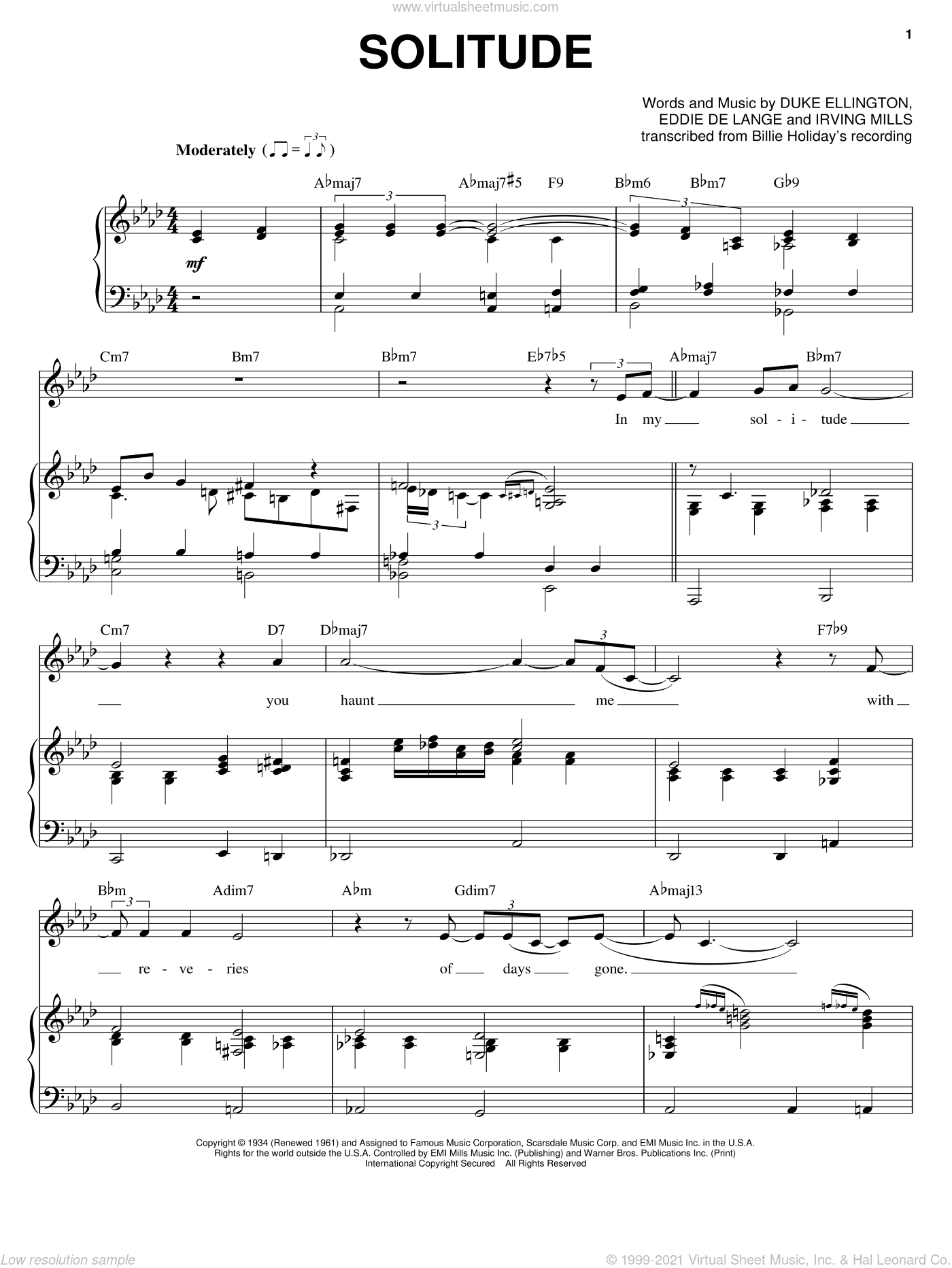 Solitude sheet music for voice and piano by Irving Mills, Billie Holiday, Duke Ellington and Eddie DeLange. Score Image Preview.