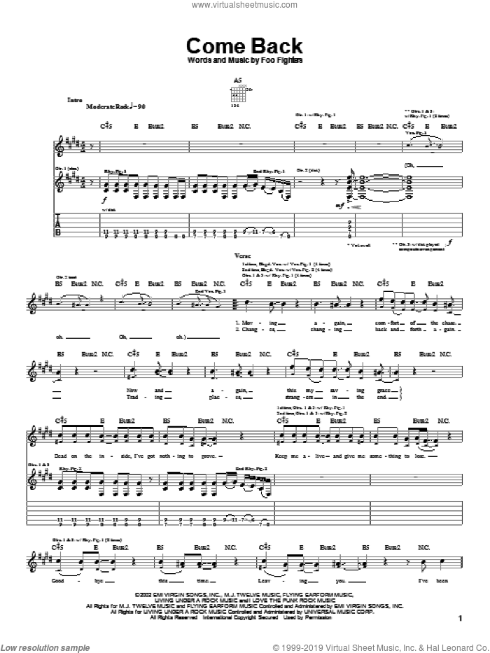Come Back sheet music for guitar (tablature) by Foo Fighters, intermediate skill level