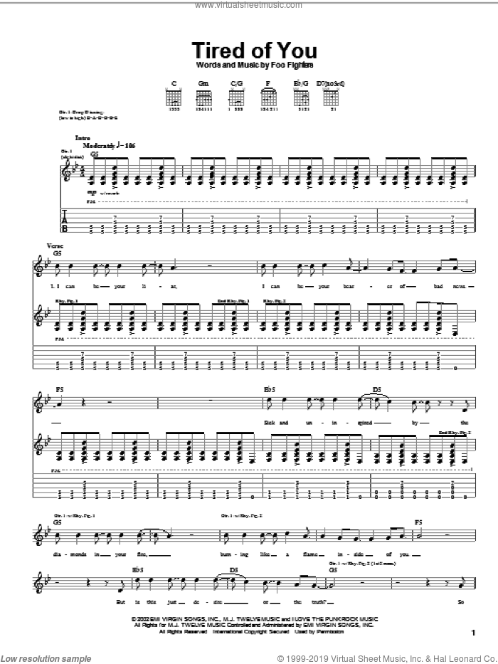 Tired Of You sheet music for guitar (tablature) by Foo Fighters. Score Image Preview.