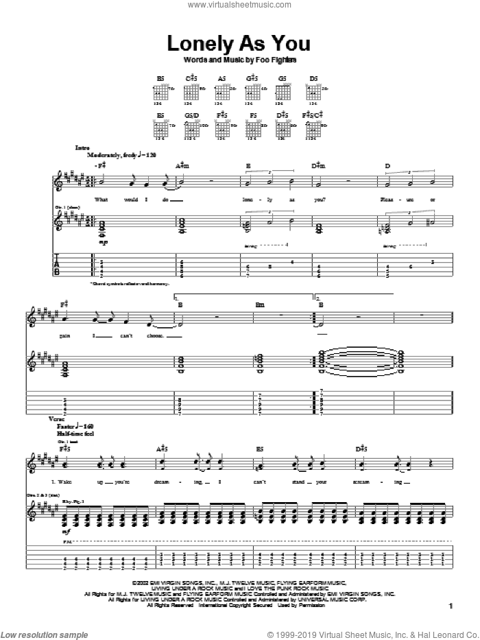Lonely As You sheet music for guitar (tablature) by Foo Fighters, intermediate skill level
