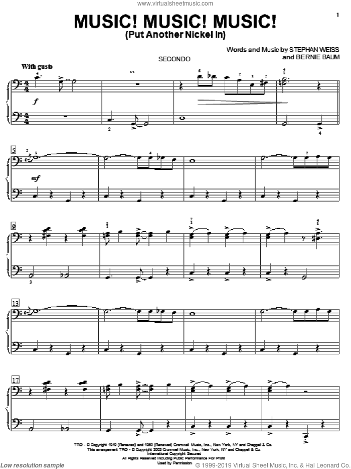 Music! Music! Music! (Put Another Nickel In) sheet music for piano four hands by Bernie Baum and Stephen Weiss, intermediate skill level