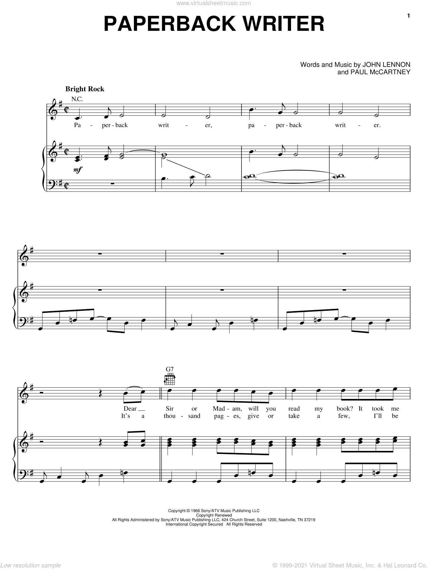 Paperback Writer sheet music for voice, piano or guitar by The Beatles, John Lennon and Paul McCartney, intermediate skill level
