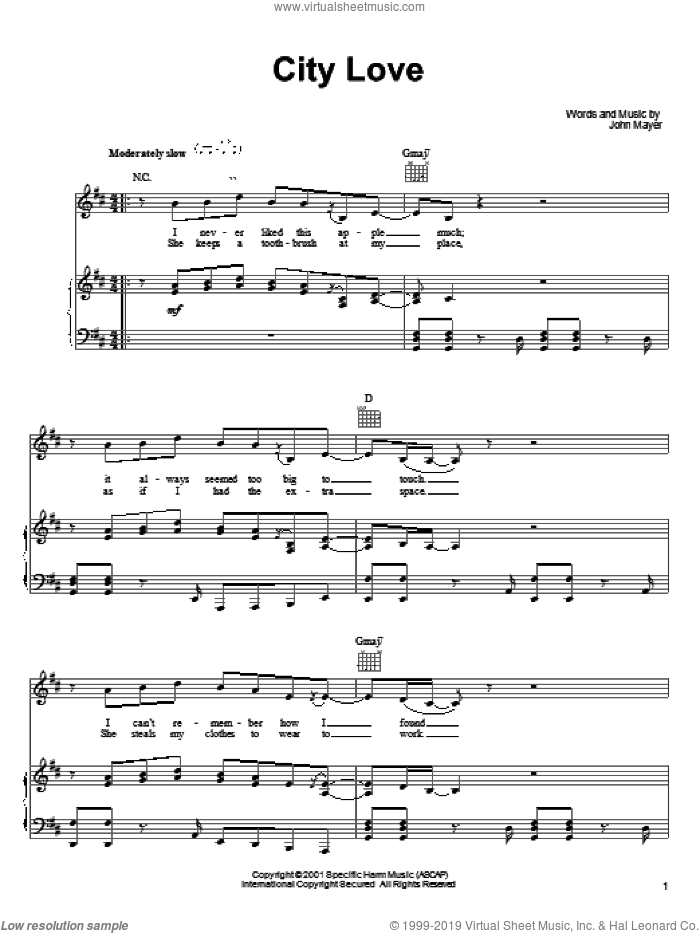 City Love sheet music for voice, piano or guitar by John Mayer, intermediate. Score Image Preview.
