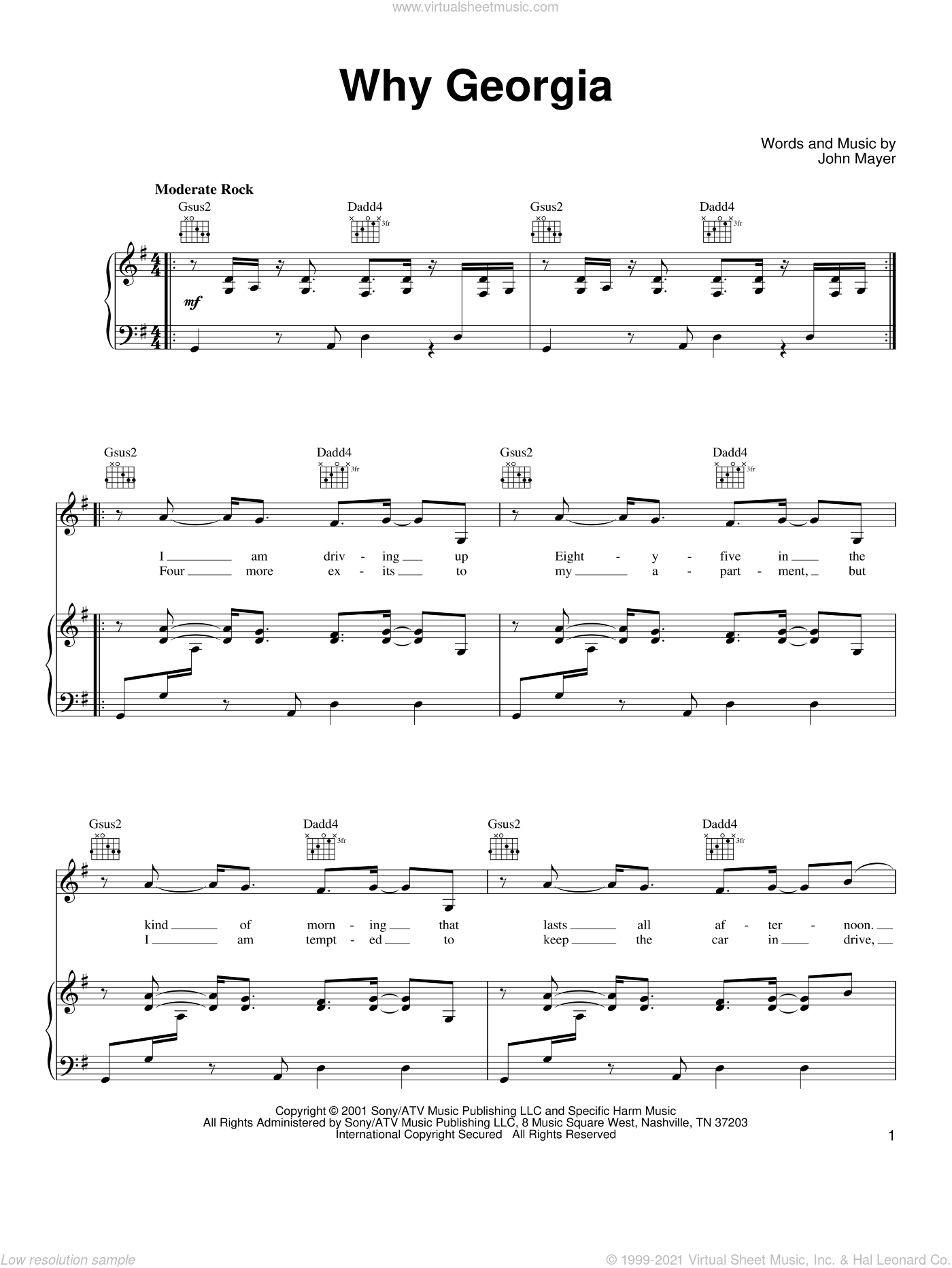 Why Georgia sheet music for voice, piano or guitar by John Mayer, intermediate skill level