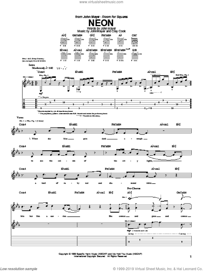 Neon sheet music for guitar (tablature) by John Mayer, intermediate. Score Image Preview.