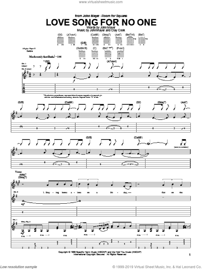 Love Song For No One sheet music for guitar (tablature) by Clay Cook and John Mayer. Score Image Preview.