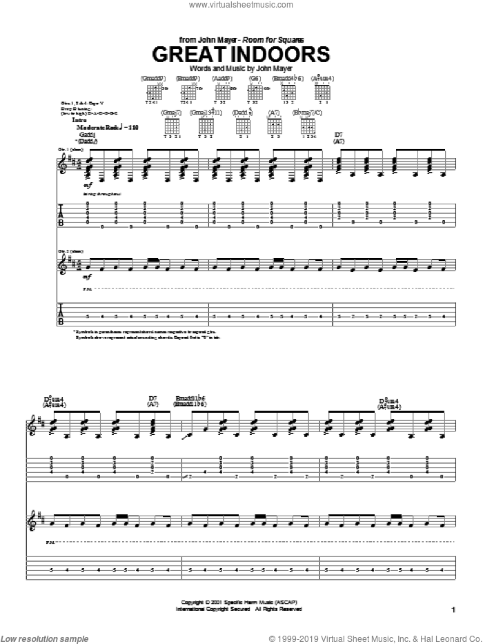 Great Indoors sheet music for guitar (tablature) by John Mayer. Score Image Preview.
