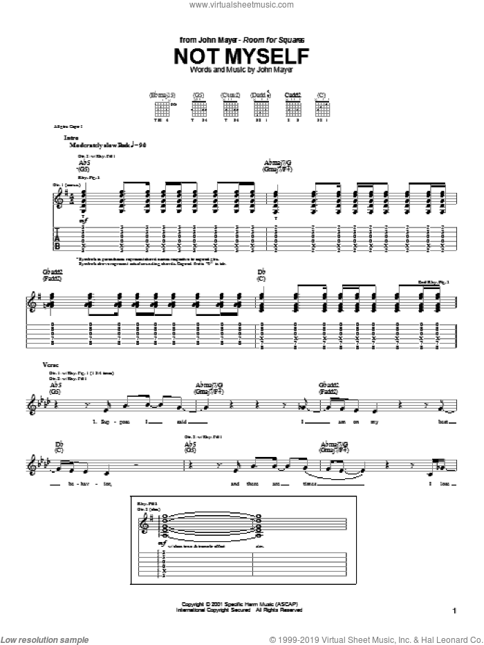 Not Myself sheet music for guitar (tablature) by John Mayer. Score Image Preview.