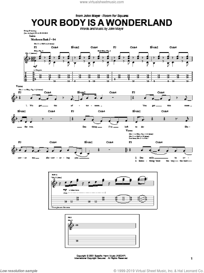 Your Body Is A Wonderland sheet music for guitar (tablature) by John Mayer. Score Image Preview.