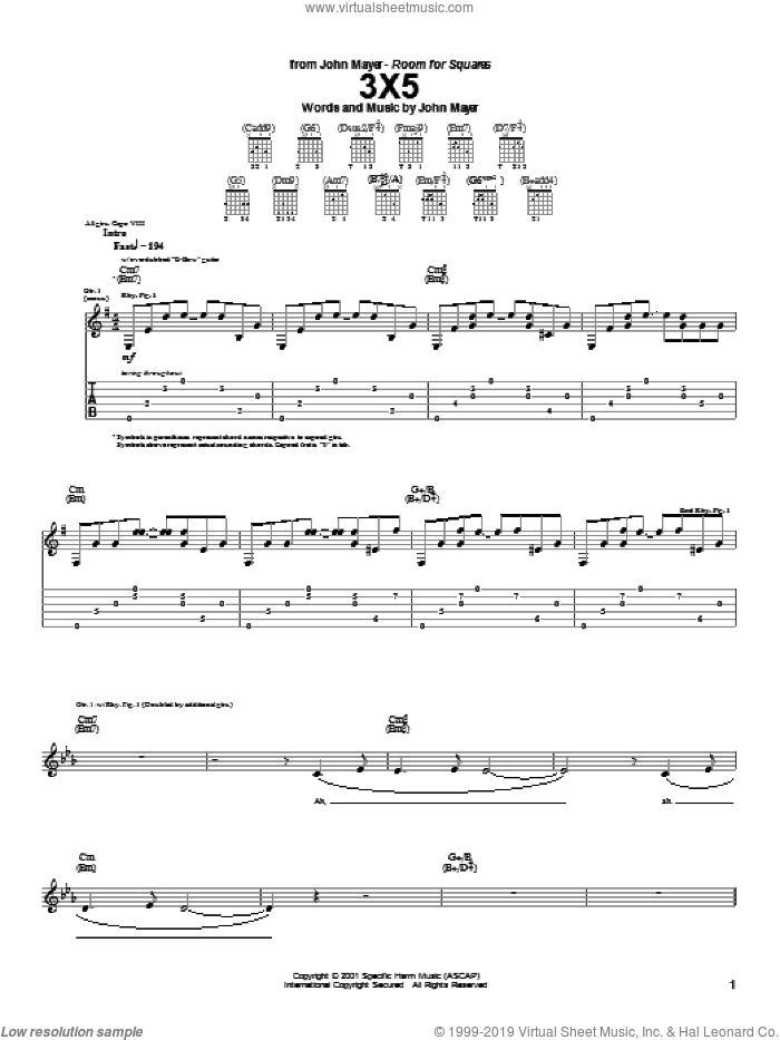 3X5 sheet music for guitar (tablature) by John Mayer. Score Image Preview.