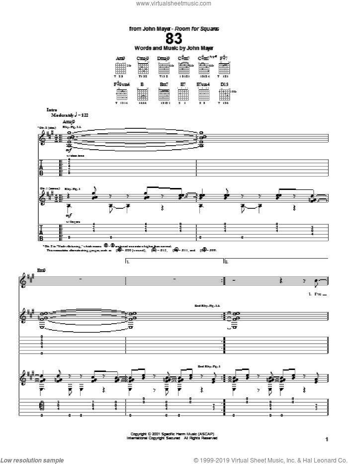 83 sheet music for guitar (tablature) by John Mayer, intermediate. Score Image Preview.