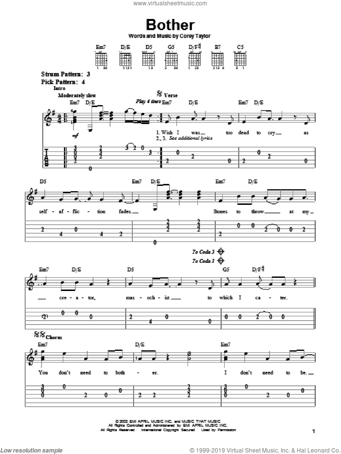 Bother sheet music for guitar solo (easy tablature) by Stone Sour and Corey Taylor. Score Image Preview.