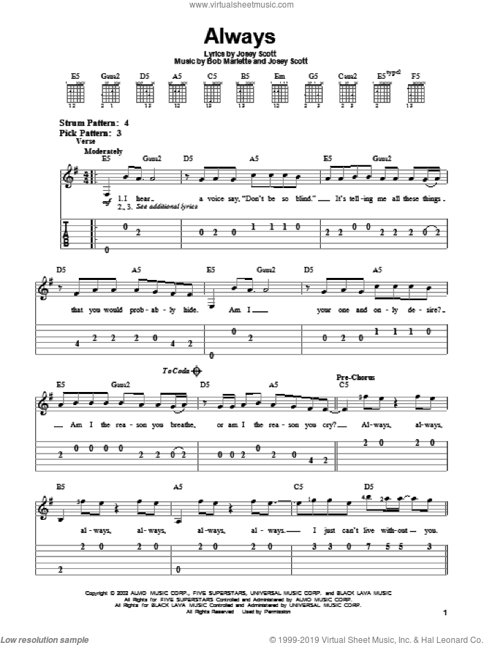 Always sheet music for guitar solo (easy tablature) by Josey Scott