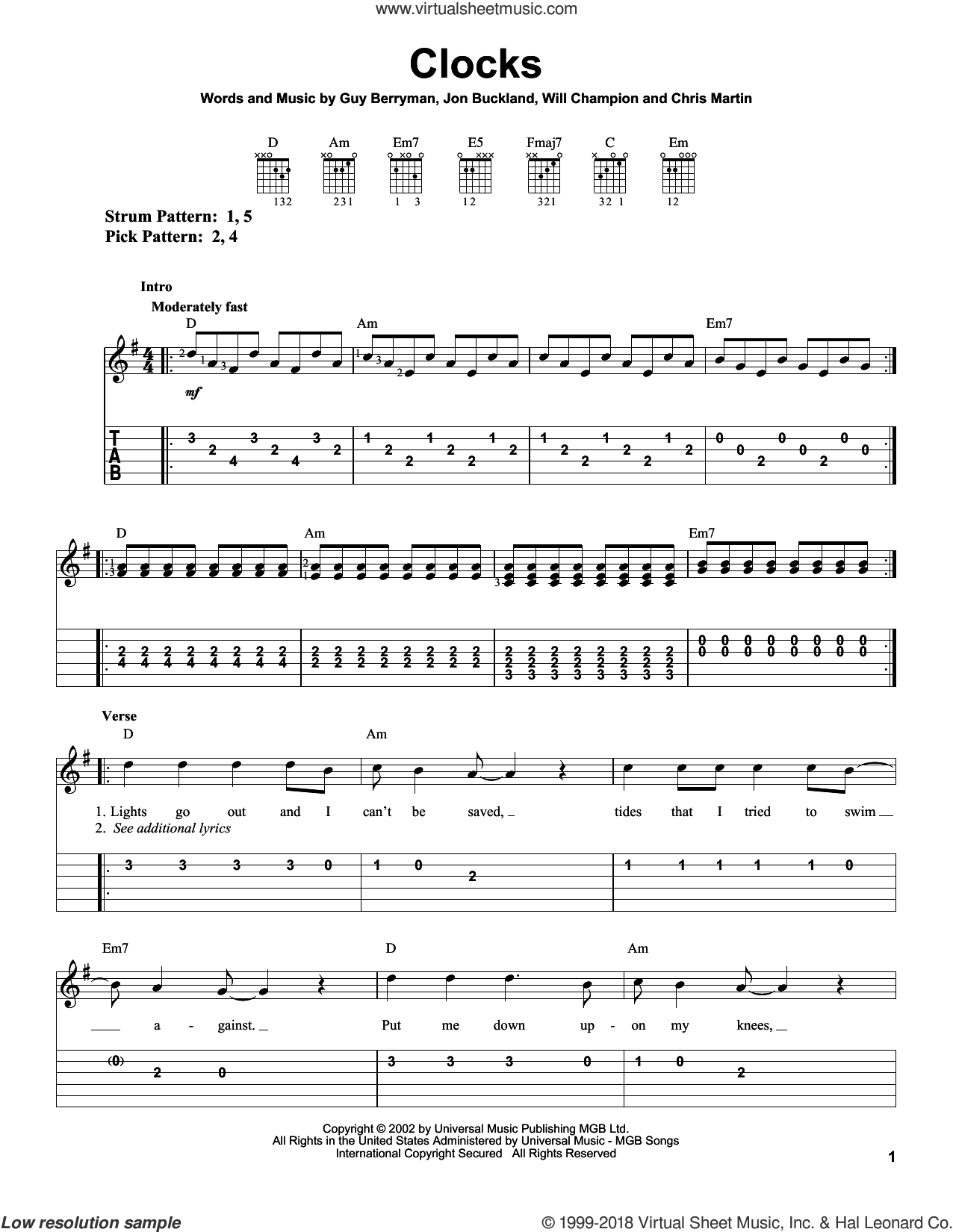 Clocks sheet music for guitar solo (easy tablature) by Coldplay, Guy Berryman, Jon Buckland and Will Champion, easy guitar (easy tablature)