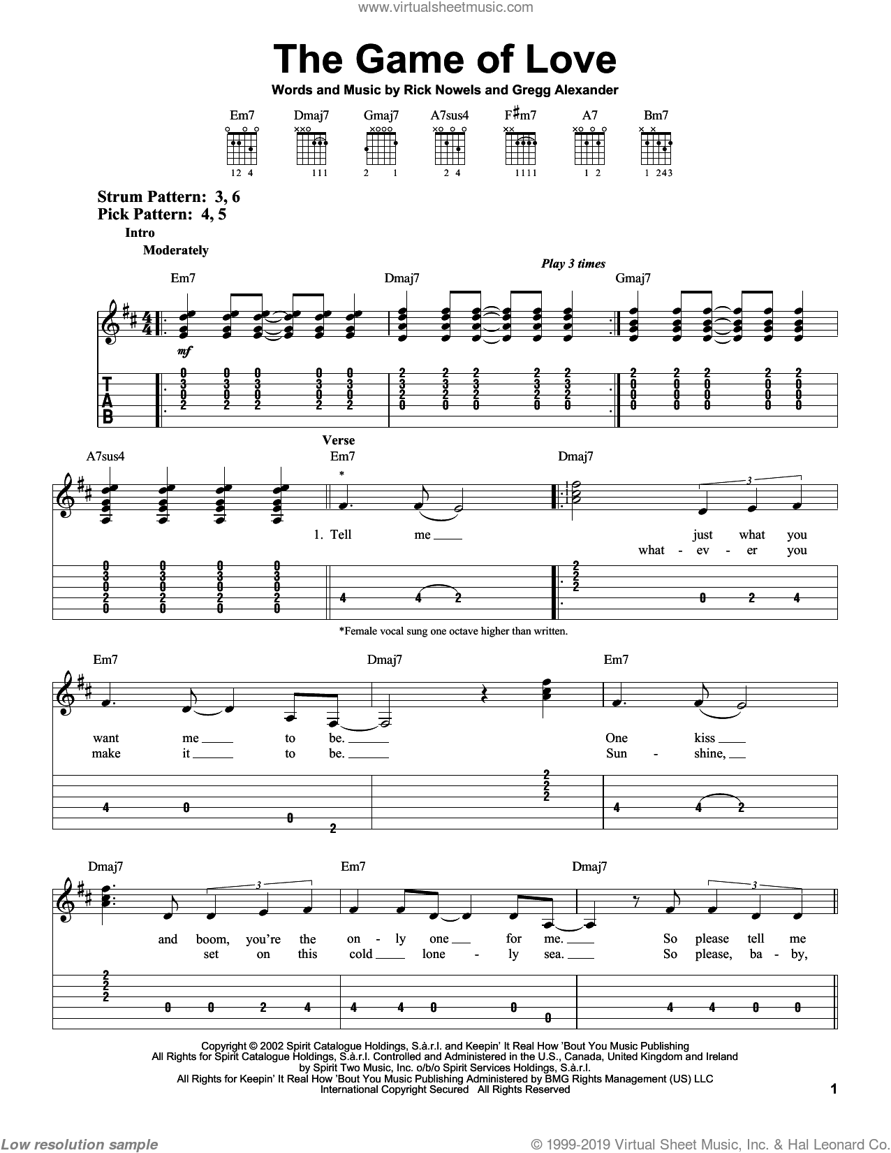 The Game Of Love sheet music for guitar solo (easy tablature) by Carlos Santana, Michelle Branch, Gregg Alexander and Rick Nowels, easy guitar (easy tablature)