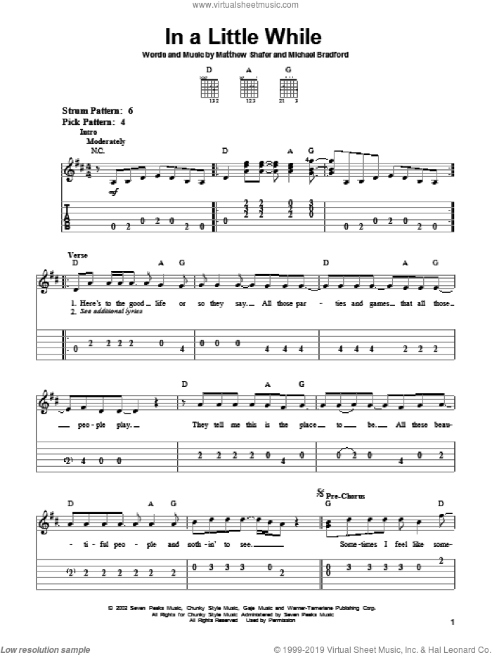 In A Little While sheet music for guitar solo (easy tablature) by Michael Bradford, Uncle Kracker and Matthew Shafer. Score Image Preview.