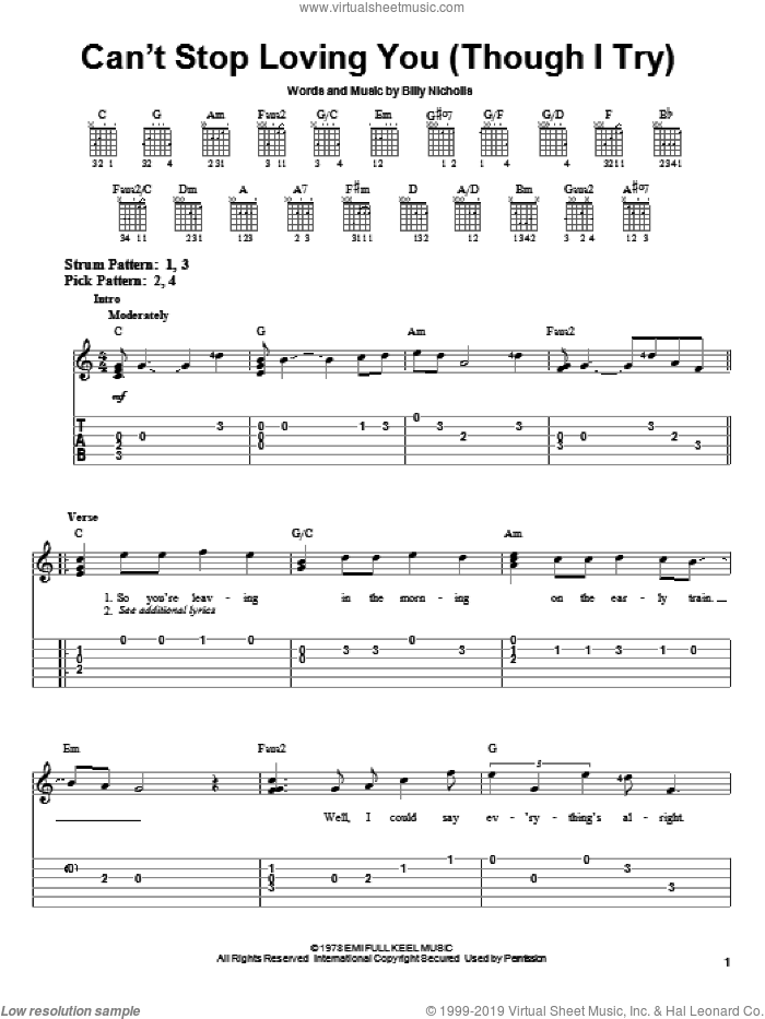 Can't Stop Loving You (Though I Try) sheet music for guitar solo (easy tablature) by Phil Collins, Keith Urban, Leo Sayer and Billy Nicholls, easy guitar (easy tablature)