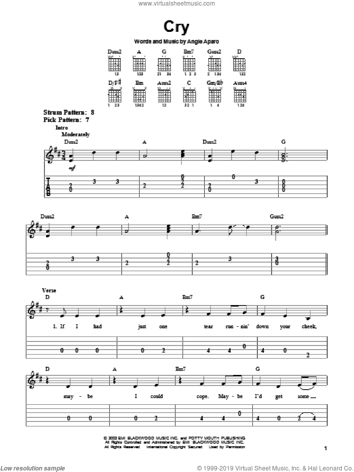 Cry sheet music for guitar solo (easy tablature) by Angie Aparo