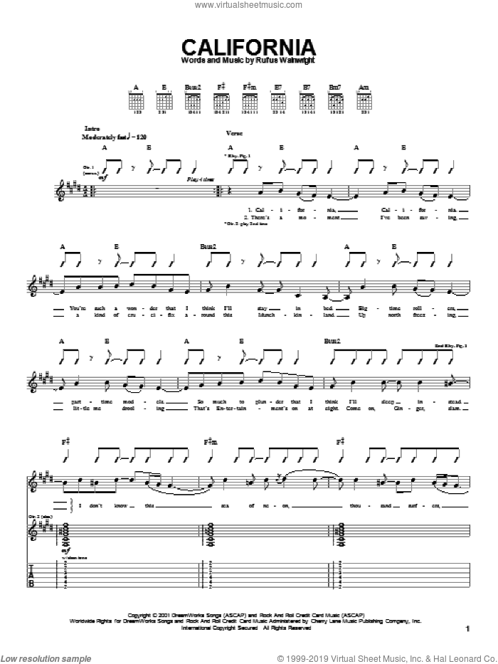 California sheet music for guitar (tablature) by Rufus Wainwright. Score Image Preview.