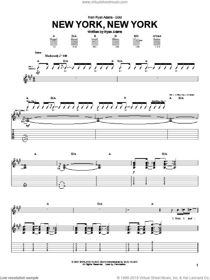 New York, New York sheet music for guitar (tablature) by Ryan Adams, intermediate skill level