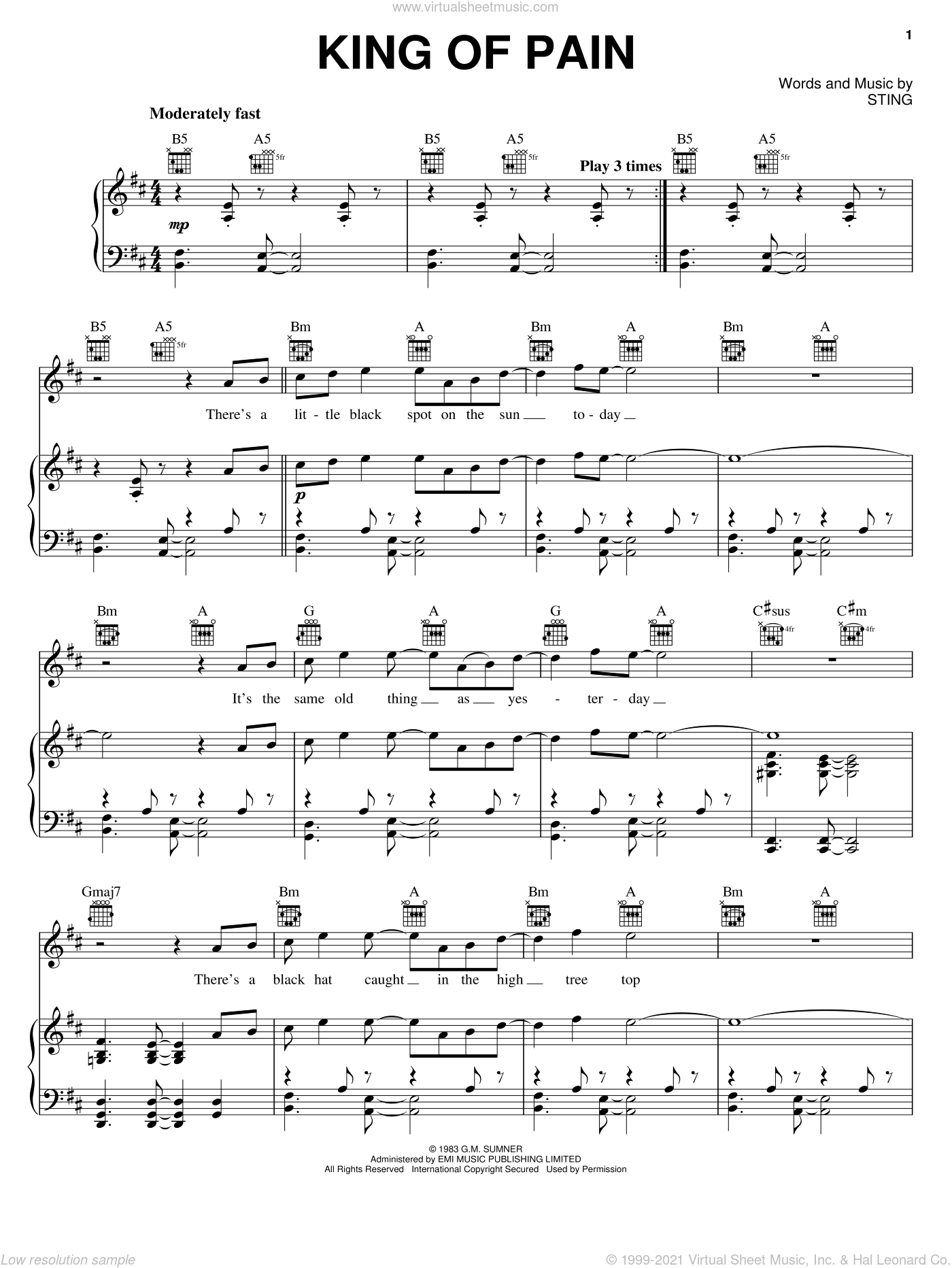 King Of Pain sheet music for voice, piano or guitar by The Police and Sting. Score Image Preview.