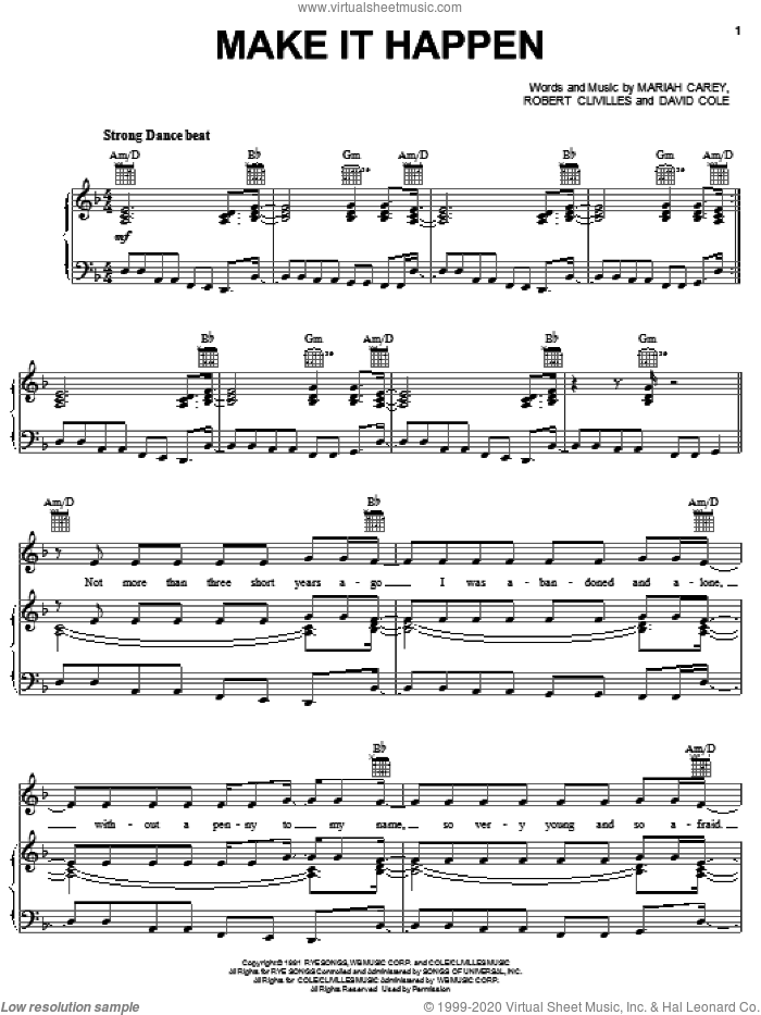 Make It Happen sheet music for voice, piano or guitar by Mariah Carey, David Cole and Robert Clivilles, intermediate skill level