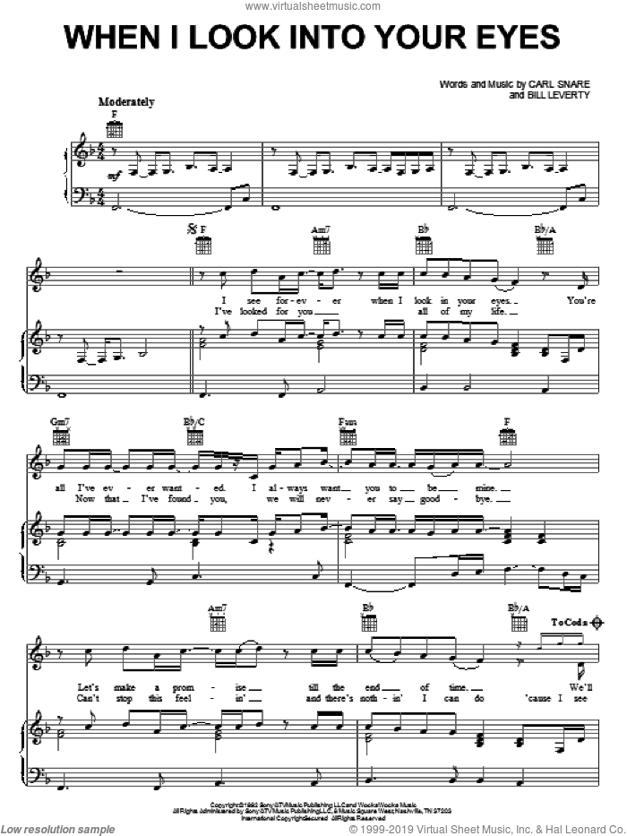 When I Look Into Your Eyes sheet music for voice, piano or guitar by Carl Snare