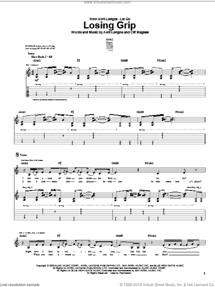 Losing Grip sheet music for guitar (tablature) by Clif Magness and Avril Lavigne. Score Image Preview.