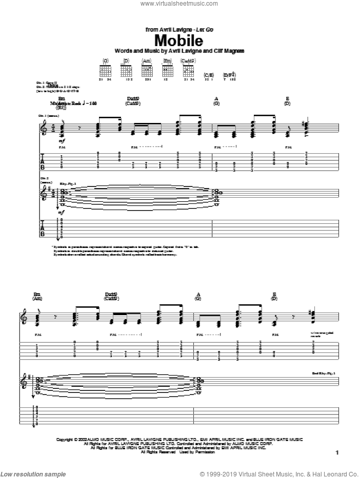 Mobile sheet music for guitar (tablature) by Avril Lavigne and Clif Magness, intermediate skill level