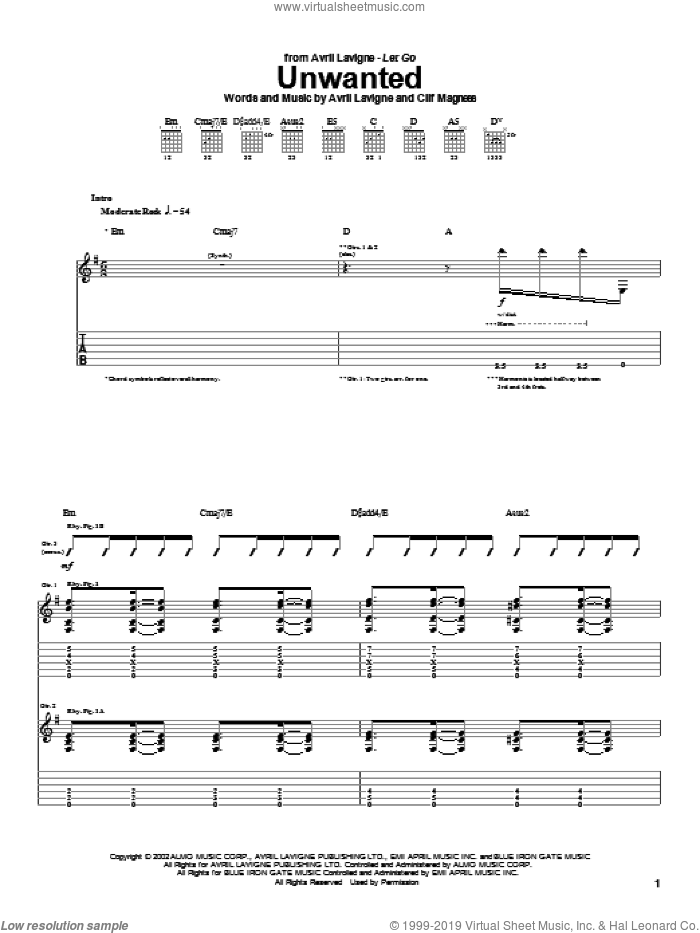 Unwanted sheet music for guitar (tablature) by Clif Magness and Avril Lavigne. Score Image Preview.
