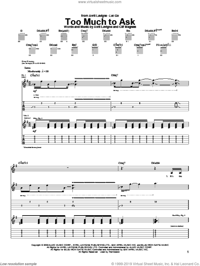 Too Much To Ask sheet music for guitar (tablature) by Clif Magness and Avril Lavigne. Score Image Preview.
