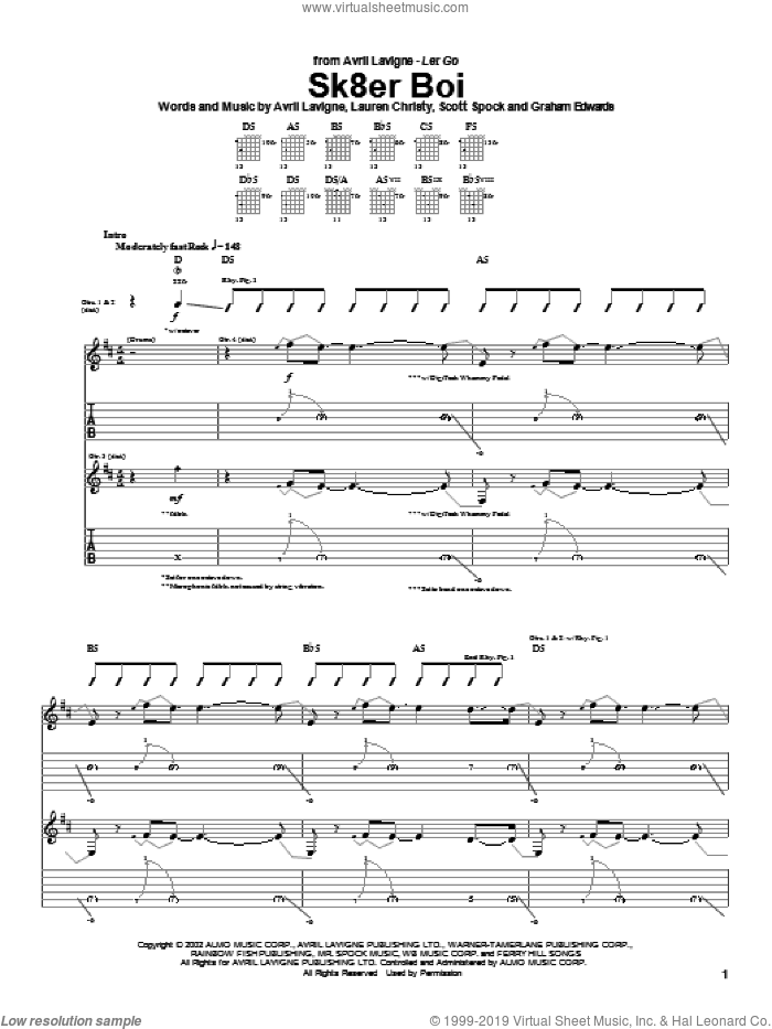 Sk8er Boi sheet music for guitar (tablature) by Avril Lavigne, intermediate guitar (tablature). Score Image Preview.