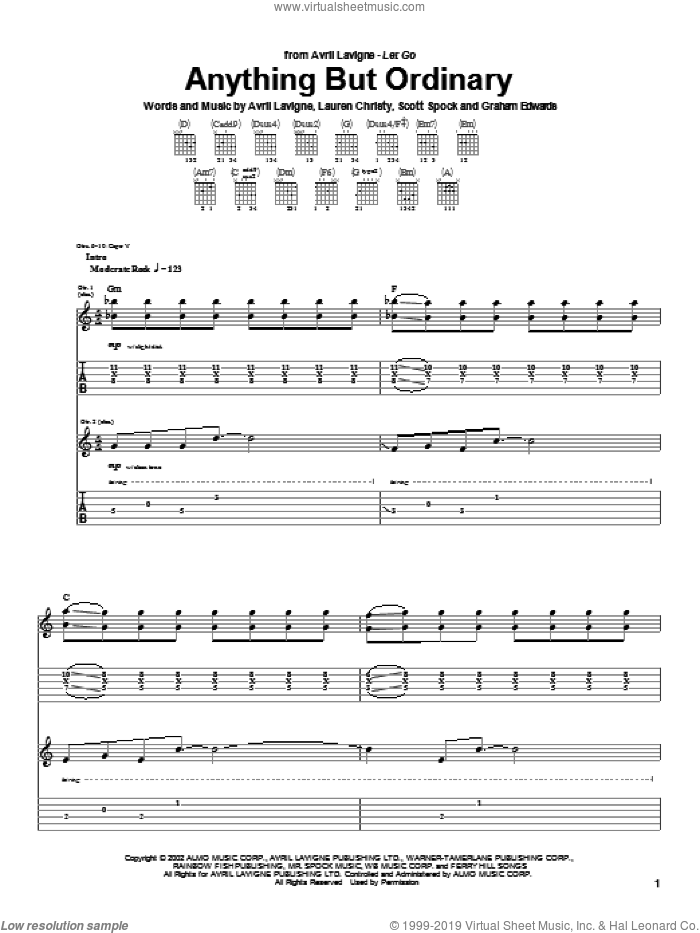Anything But Ordinary sheet music for guitar (tablature) by Scott Spock, Avril Lavigne and Lauren Christy. Score Image Preview.