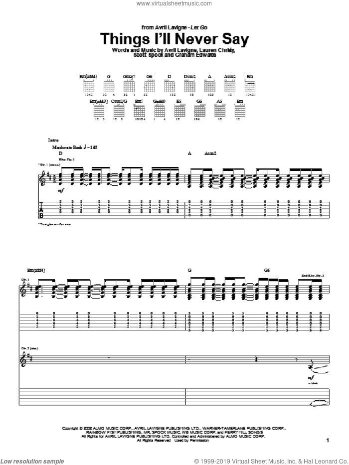 Things I'll Never Say sheet music for guitar (tablature) by Avril Lavigne, Lauren Christy and Scott Spock, intermediate skill level