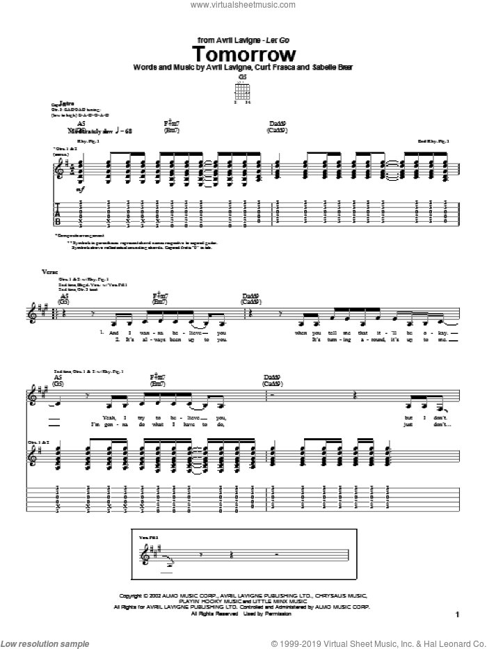 Tomorrow sheet music for guitar (tablature) by Avril Lavigne. Score Image Preview.