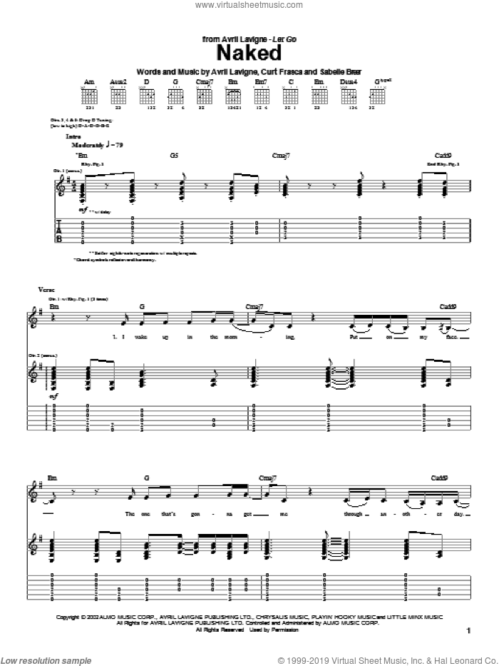 Naked sheet music for guitar (tablature) by Avril Lavigne, Curt Frasca and Sabelle Breer, intermediate skill level